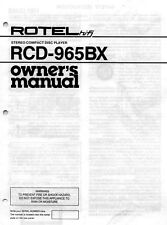 Rotel RCD-965BX CD Player Owners Manual