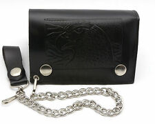 Trifold USA Made Large Black Genuine Leather Wallet Eagle Head Design with Chain