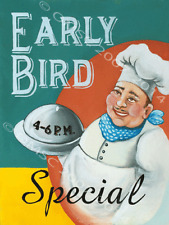 Early Bird Special Breakfast Brunch Diner Fast Food Restaurant Retro Metal Sign