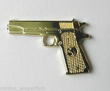 COLT 45 REVOLVER 1911 PISTOL GUN GOLD COLOR LAPEL PIN BADGE APPROX 1 INCH