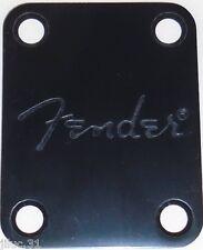 NECK PLATE  Fender Logo - noire -  pour guitare ou basse