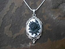 --STUNNING (black rose on white) CAMEO NECKLACE!! QUALITY-.925 SILV PLATED CHAIN