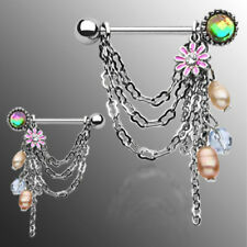Nipple Shields Flower w/Pearl Chain Dangle Rings (s147)