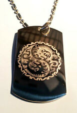 Dragon YIN Yang Tribal Chinese Asian Dog Tag Metal Chain Necklace Fashion New