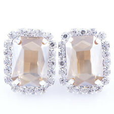 White Gold Plated Womens Big Large Champagne Gemstone Silver Square Earrings