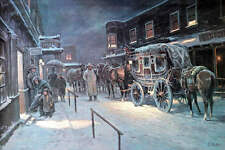 Western Stage Winter Town Scene by Lajos Markos