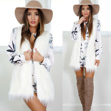 Warm Outwear Women Sleeveless White Slim Vest Faux Fur Waistcoat Jacket Coat S
