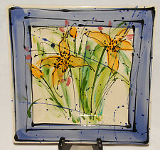 """GIEN - France - Colorful 12"""" Floral Painting Square Platter / Cake Plate"""