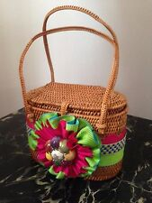 Mackenzie Childs posie HandBag Purse Tote Wicker Multi Color Shoulder Bag RARE