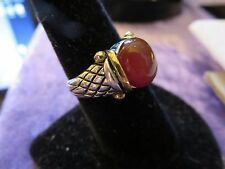 Sterling Silver w Gold SIGNATURE DESIGNER NF CARNELIAN STONE RING Sz 8 1/4