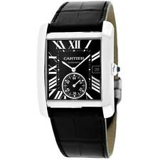 *Cartier Men's Tank Stainless Steel Case, Leather Strap, Black Di... Lot 2039578