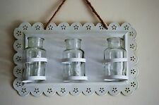 Shabby Chic Antique White Mini Vase Bottle Wall Plaque New