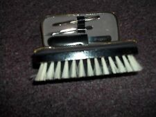 Vintage hair brush genuine cowhide leather nail kit shoe brush made West Germany