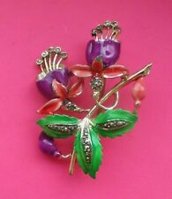 By Exquisite Vintage Hand Painted Enamel BROOCH Fuchsias Flower Of The Month