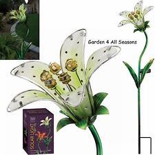 WHITE TIGER LILY Flower Solar Light Garden Stake Creekwood Regal Art & Gift Box