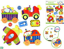 TRANSPORTATION  glitter 3D wall stickers 8 decals decor traffic signs airplane