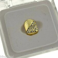 14k Gold Plated Single Cap Teeth Grillz Hip Hop Grills Half Iced-Out Tooth Grill