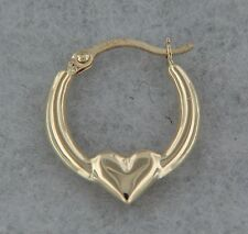 14k Yellow Gold Heart Hoop Earring Shiny. 0.5 inches. Hollow. Small. Great Gift