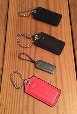 4 COACH Hangtag Keychains Replacement Fob Purse Bag Hang Tag Metal Coral Black