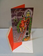 Vtg Card Highlights for Christmas Man on Ladder Decorates Gas Street Lamp UNUSED