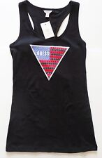 New GUESS racer back tank top womens size large black rhinestone