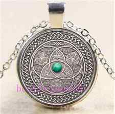 Celtic Photo Cabochon Glass Tibet Silver Chain Pendant Necklace