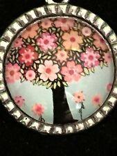 """Tree of Life Pink Posey Blooms Charm Tibetan Silver with 18"""" Necklace PP2"""