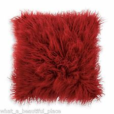 "DKNY Washed Stripe 16"" Square Textured Faux Fur Decorative Toss Pillow Deep Red"