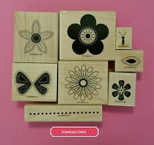 Stampin Up PUNCHED POSIES tag flower butterfly floral blooms blossoms leaf (605)