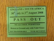 30/07/2008 Ticket: Cricket - England v South Africa [At Edgbaston] (Pass Out Vou