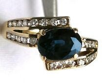 14k Sapphire and 26 Diamond Ring East-west Oval 1CT Sapphire Channel Diamonds