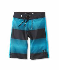 NEW* HURLEY BOARD SHORTS Boys 18  $42 Retail SWIMSUIT Black Blue Stripes
