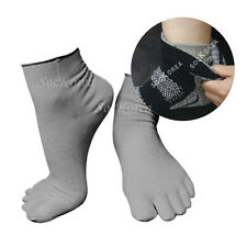 6 Pairs Lot Mens Gray Performance Lightweight Inner Liners Cotton Toe Socks
