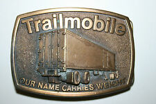 "Vintage Trailmobile ""Our Name Carries Weight"" 3D Brass Belt Buckle Trucking Rare"