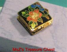 Square Cloisonne Flowered Metal Pill Box/Pendant  ** BRAND NEW **