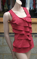 BNWT Yummie Tummie Fabulous Shaping Merlot Red Layers Tank Top Dual Fabric sz S
