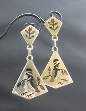 Vintage ZUNI Sterling Silver Inlaid Bird Drop Earrings S.C. Edaakie