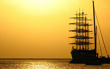 Framed Print - Pirate Ship Moored at Sunset (Picture Poster Art Ocean Sea Beach)