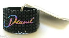 NEW DIESEL BLACK IP+STAINLESS STEEL RAINBOW MESH RING SZ-8 DX0346