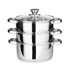 3pc 22cm 3 Tier Stainless Steel Steamer Cooker Pot Set Glass Lids Pan Cook Food