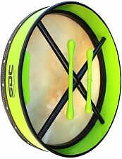 BODHRAN DRUM Irish Celtic 18 Inch Drums + CASE + 2 Tippers GREEN 01