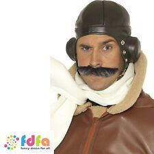Brown BIGGLES traditionnel Flying Hat casque Homme ACCESSOIRES COSTUME ROBE FANTAISIE