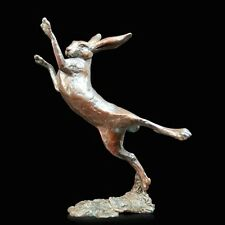 Small Hare Boxing Solid Bronze Foundry Cast Sculpture Michael Simpson (920)