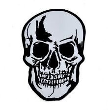 "Large 8"" Biker Skull Iron On Patch Applique Goth Deathrock Punk Alternative Back"