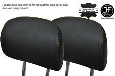 YELLOW STITCH 2X FRONT HEADREST LEATHER SKIN COVER FITS BMW X5 E53 2000-2006