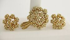 VINTAGE Jewelry CASTLECLIFF FX PEARL & RHINESTONE FLOWER BROOCH & EARRINGS SET