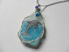 "Hand painted dolphin sea glass necklace - 18"" silver plated chain & miyuki beads"