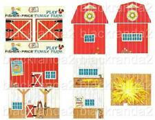 VNTG FISHER PRICE LITTLE PEOPLE 915 FARM BARN REPLACEMENT LITHOS DECALS STICKERS