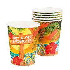 Hawaii Beach Party Becher 6 Stück NEU - Partyartikel Dekoration Karneval Faschin