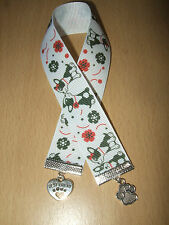 Handmade French Bulldog Ribbon Bookmark Charm Dog Puppy White Paw Best Friend